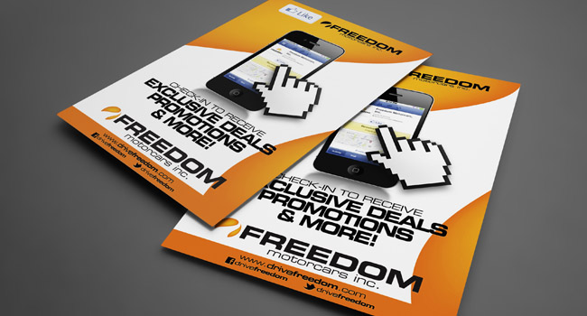 Freedom Motorcars, Inc.'s Facebook Check In Poster by Ryan Orion Agency