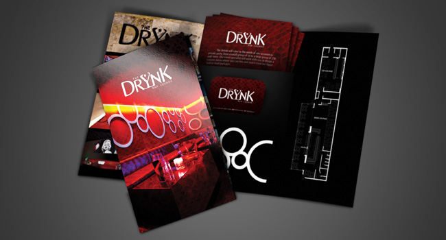 The Drynk's Tri-Fold Mock-Up for their Media Kit, Designed and Printed by Ryan Orion Agency