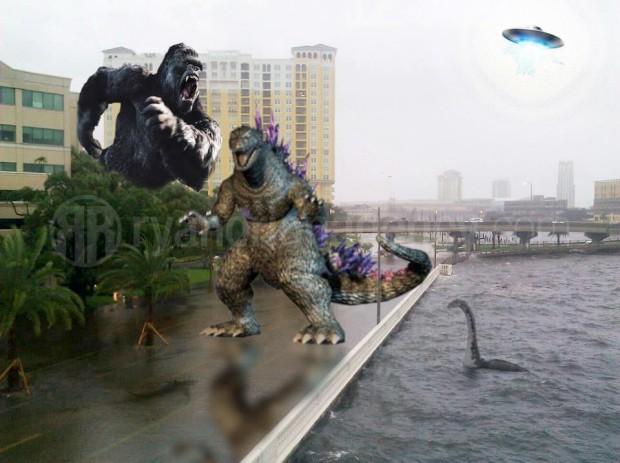 King Kong, Godzilla & a UFO on Bayshore Blvd. Tampa, FL - Credit: Jason Gemini Ortis